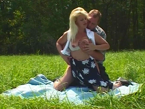 Cougar Blonde Picked-Up And Fucked In Open Field