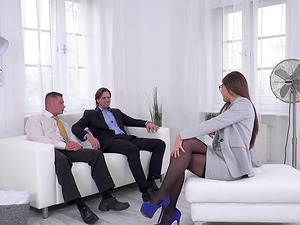 Tina Kay offers her bod to a duo of vagina longing paramours