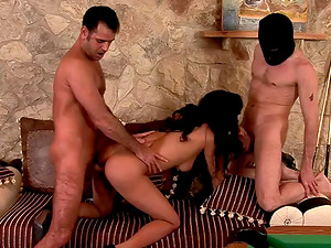 Three pulsating dicks for an insatiable dark haired beauty