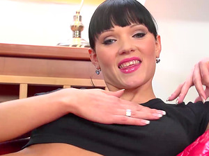 Raven haired chick solo scene