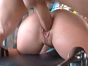 Eva Tores and Niki Sweet getting fucked hard in the garage