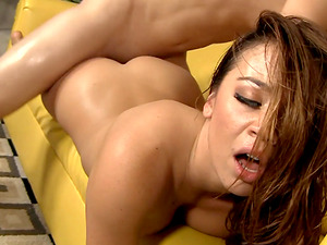 Mia Lelani fuced hard before being covered in semen