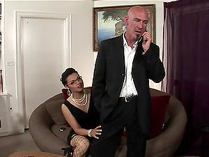 Dark-hued shemale Gaby B plays dirty games with a bald dude
