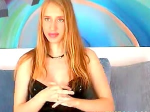 A beautiful blue-eyed blonde pregnant milf teases on livecam.