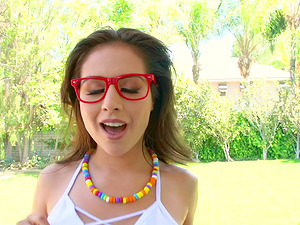Jynx Maze is a honey with glasses ready to be plowed well
