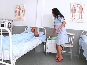 Janet Joy is a sexy nurse interested in a stiff boner