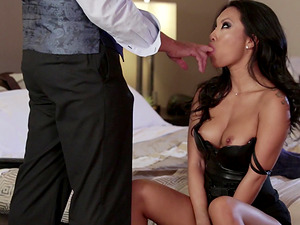 Asian MILF Asa Akira gets to feel a massive cock in her hole