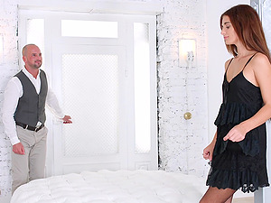 Gorgeous brunette Kate Rich is excited about riding a hard prick