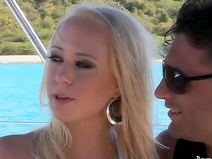 Sexy blonde Carla Cox deep-throats Leonardo Conti's jizz-shotgun on a yacht