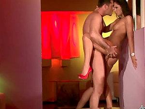 James Brossman and Lucy Belle bang in standing position in the doorway