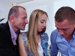 Anya Akulova seduced by two men for a sex session