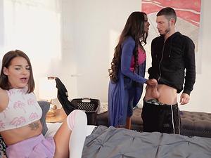 Evelin Stone and a stunning ebony babe make a man's dick stiff
