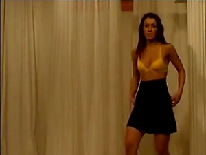 Sexy brunette babe at home stripteasing and seducing on webcam