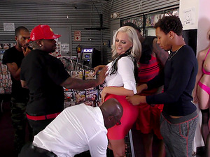 Alena Croft is a stunning blonde attacked by insatiable black lovers