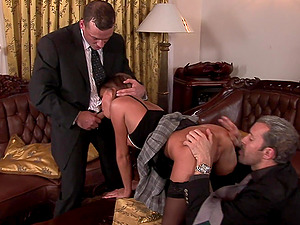 Lauryn May seduced by a couple of businessmen for a threesome