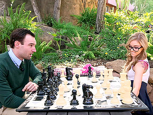 Hoe with pierced nipples Kali Roses playing chess and getting boned