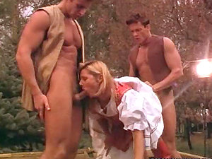 Caroline Box the sexy blonde in antique sundress gets threesomed