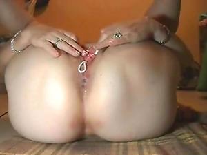 Stephanie masturbating hairy pussy with beads