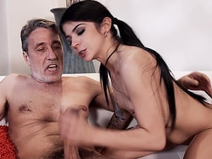 Petite Sadie Pop bouncing on a throbbing wiener and moaning