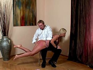 Blonde Helena Sweet likes to moan while a friend spanks her firm ass