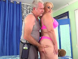 Older Blonde Has Her Body & Genitals Massaged