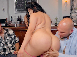 Hot brunette girl gets her cunt pounded in front of her boyfriend