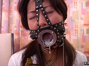Tied Japanese slace Narum subm9tted to a bizarre fuck machine.