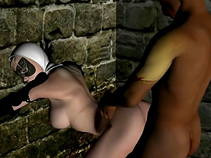 Nun gets banged by a weirdo in dungeon