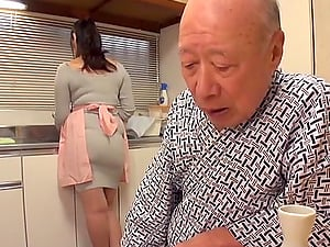 Japanese cougar teasing his mans cock