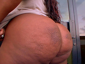 Ebony BBW Mz. Booty knows how to satisfy a monster pecker