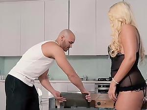Curvy German blonde fucked in lingerie