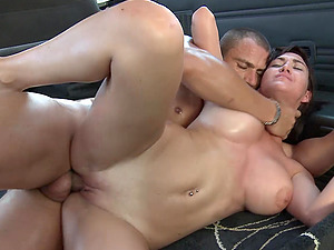 Busty Valeria Blue fucks in the car while her boobs bounce up and down
