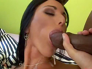 Buxomy and mischievous stunner Simone Style gets fucked by a black jizz-shotgun