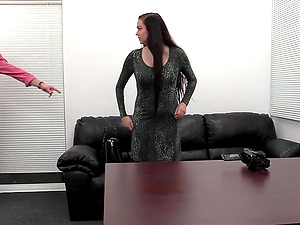 Tattooed chick Maddie bends over the table to get her cunt plowed