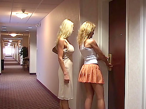 Allie meets another swinger wife for some lesbian pussy licking fun!