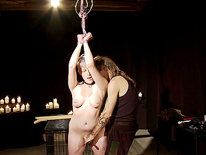He uses all kinds of toys on her after tying her up to a ceiling