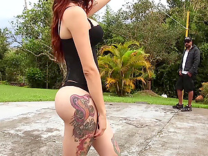 Sexy ass shemale Selena Ink with amazing tits and lots of tattoos gets fucked