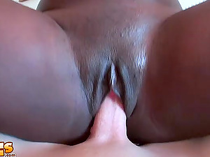 Shaved ebony pussy of Tyera Brooks gets eaten and penetrated hard
