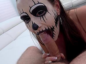Brunette Mea Melone fucks a guy wearing her Halloween costume