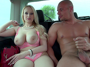 Busty Angel's tits get covered in sperm after car fucking