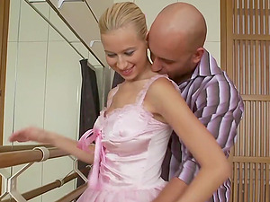Blonde Ballerina Ballet Barre Fucking