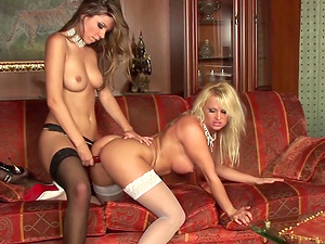 Hot Lesbian Strapon and Toy Play