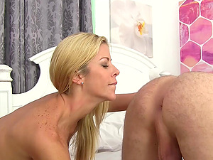 Amazing blonde with huge knockers moans while he's banging her cunt