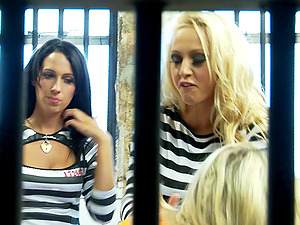 Hot babes pleasure each other's love tunnels in their prison cell