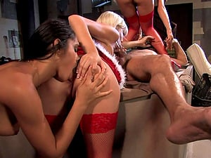 Christmas group sex party with Helena Sweet and her slutty girlfriends