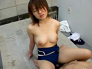 Asian cockslut Ai Mizuno gets hotly fucked in her swimming suit