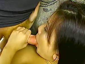 Sexy Asian with big natural tits has her mouth and tight pussy stuffed by two dicks
