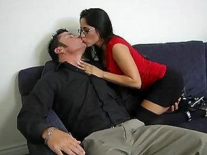 Sexy dark haired Jenaveve Jolie fucks Cheyne Collins in her office