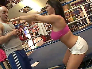 Big-boobed dark-haired Claire Dames fucks Derrick Pierce on the prize ring