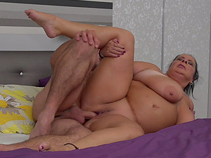 Buxom amateur brunette BBW Abby Tits rides cock doggy style